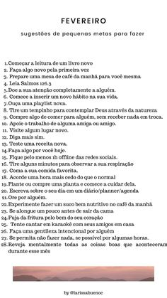 Salve essa lista em alguma pastinha com inspirações para fazer em cada dia desse mês lindo de fevereiro. Clique no pin para conferir todas as listas do ano. Study Inspiration, Life Motivation, 30, Journaling, Bible, Challenges, Mindfulness, Goals, In This Moment