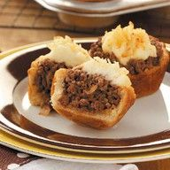 Mini Shepherd's Pies--Meat and potatoes in a biscuit crust. We don't think anyone will leave hungry. :)