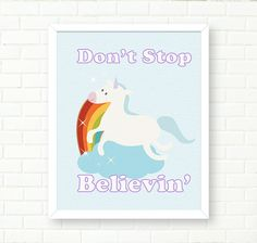 Baby Girl Nursery Art Prints Unicorn Illustration by PeachAndGold