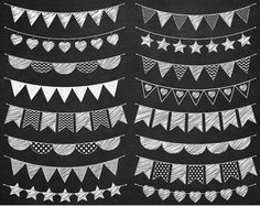 Hand drawn Bunting Clipart Doodle bunting Scrapbooking Commercial Use Hand drawn Garland Invitation Handmade Poster Design Chalkboard Lettering, Chalkboard Designs, Bunting, Happy Birthday Signs, Plakat Design, Create Invitations, Wedding Invitations, Poster Design, Clip Art