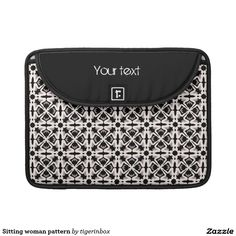 """Rickshaw MacBook Pro sleeve with stylish black and white decorative pattern.  Made with water resistant fabrics and an ultra-plush padded liner, this sleeve is  perfect to protect your device, without a style sacrifice. Water resistant, extra durable. Ultra-plush, laptop-grade padded liner. Secure velcro flap closure. Customizable text Available for MacBook Pro 13"""" and MacBook Pro 15"""" on Zazzle $75,95"""