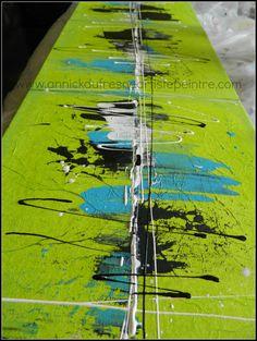 TRIO Peinture acrylique sur toile de lin Abstrait par DecArttoi, $110.00