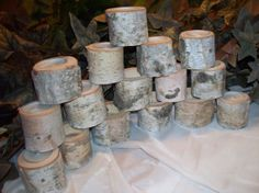 "30-  2""  Birch candle holders, Wedding decor, Natural wood table decor, Rustic tealights on Etsy, $54.00"