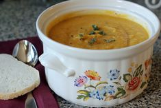 Roasted Butternut Squash Soup...Oh so good!  Healthy and Delicious!  Husband went crazy for it!