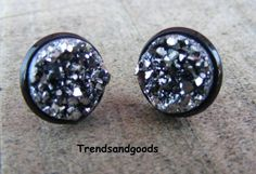 Druzy Drusy Fake Plugs Stud Earrings Silver Moon Black Faux Plugs FP 069 by Trendsandgoods on Etsy