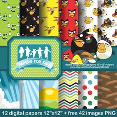 Digital Papers Angry Birds Background Boys by PapersforKids