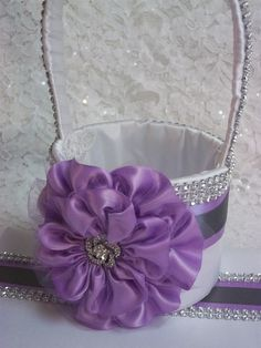 Wedding Basket, Flower Girl Basket , Lilac Purple Flower, Grey Trim and Rhinestone Mesh handle and Trim, Custom Made to Order