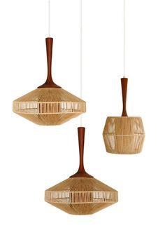 Teak & Jute Pendant Lamps by Fog & Morup