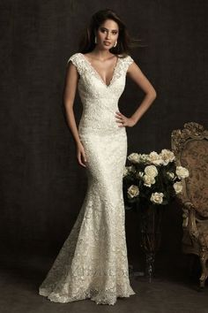 Sheath/Column V-neck Lace Luxury Wedding Dresses. You need curves for this dress, but I love it