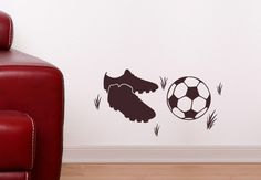 Wall Decals - Soccer Boots Wall Sticker Set - Great Decoration for Boys