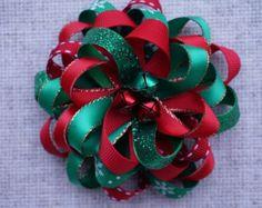 Christmas Snowflake Hair Bow Loopy Flower Hair Bow by AmazinGems