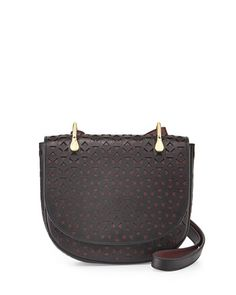Zoe Perforated Leather Saddle Bag