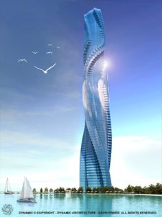 Dynamic Tower, Dubai. With wind turbines between rotating floors and solar panels it will power itself.