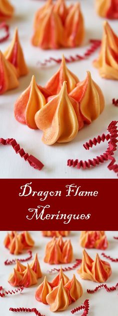 recipes for kids Dragon Flame Meringue Cookies These sweet vanilla meringue cookies are inspired by the orange and red flames that spew from the mouths of dragons. Party Desserts, Cookie Desserts, Just Desserts, Cookie Recipes, Snack Recipes, Dessert Recipes, Dragon Cupcakes, Dragon Cookies, Dragon Recipe