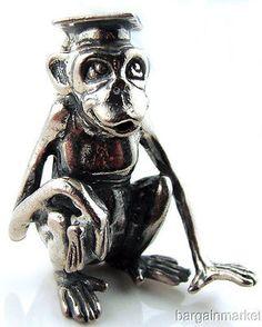 Heavy Sterling Silver Monkey Chimpanzee Graduate Figurine Paper Weight s42