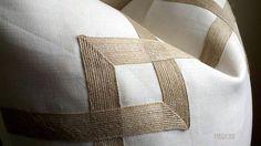 Greek Key Fretwork Ivory Linen with Jute 20 Pillow by thfabricate, $80.00