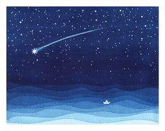 Impresión de Giclee acuarela estrella fugaz estrella que por VApinx