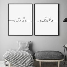 The stresses of modern life can take a toll, it's important to stop for a moment and unwind. This set of 2 prints does just that featuring the words 'inhale' and 'exhale'. A thoughtful gift for housewarming, couples, birthday or Christmas. Wall Prints, Framed Art Prints, Bedroom Wall, Bedroom Decor, Dream Bedroom, Wall Decor, Diy Wall, Master Bedroom, Relax