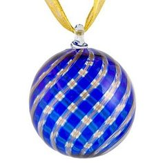 Blue and Aventurina Murano Glass Christmas Ornament - Venetian Glass