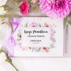 KSIĘGA Pamiątkowa I Komunii Św. Liliowe Love Z IMIENIEM (+wstążka liliowa) Place Cards, Place Card Holders