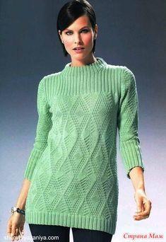 . Пуловер со структурным узором спицами - Вязание - Страна Мам