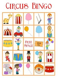 This Circus Bingo FREEBIE contains 5 Bingo Cards. It will go great with any circus themed unit. If you need more than 5 bingo cards I have a pack you can purchase with 25 bingo cards. Preschool Circus, Circus Activities, Circus Crafts, Preschool Activities, School Carnival, Carnival Birthday Parties, Carnival Themes, Circus Birthday, Circus Game