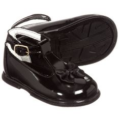 a9730c4a651672 Little girls black, first walker shoes by Early Days made from synthetic patent  leather with