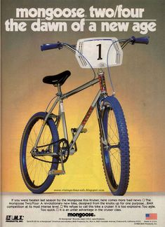 Vintage BMX Ads: mongoose two/four  - the dawn of a new age
