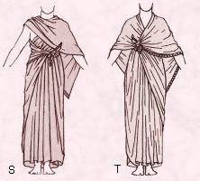 This a women's tunic dress. It's shape wraps around the woman and is then pinned to form.