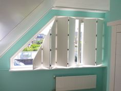 Various types of curtains can be chosen to cover the window and decoration. For slanted windows, one of the curtains that is suitable for use is a blind curtain Dormer Windows, House Windows, Blinds For Windows, Curtains With Blinds, Loft Dormer, Gable Window, Best Blinds, Window Bars, Horizontal Blinds