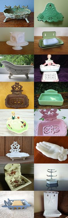 Vintage Soap Dishes by Lisa Palmer on Etsy--Pinned with TreasuryPin.com