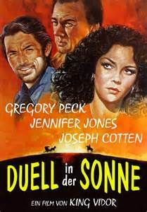 DUEL IN THE SUN (1946) - Gregory Peck - Jennifer Jones - Joseph Cotten - Based on novel by Niven Busch - Produced by David O. Selznick - Directed by King Vidor - Selznick Releasing - Movie Poster.