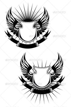 Heraldic shield #GraphicRiver Heraldic shields, wings and ribbons for design SPORTS MASCOTS MEDICINE FOOD LABELS WEDDING DESIGN ELEMENTS FLORAL ...