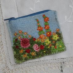 Embroidered Zipped Coin Purse  Summer Rose Garden by Lynwoodcrafts, £14.00