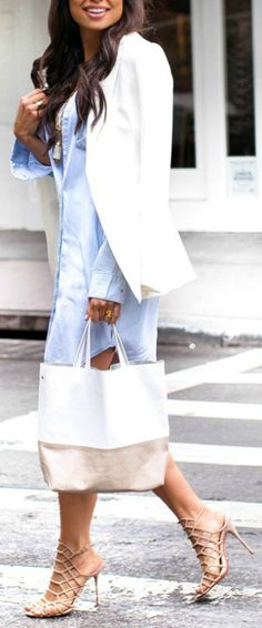 A classic sky blue shirt dress + perfect piece + smart casual look + spring + Kat Tanita + gorgeous number + pair of strappy nude heels + stylish white blazer.   Dress: Rails, Blazer: James Jeans, Bag: Alice D.