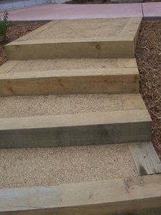Landscape Timber Stairs with decomposed granite and stabilizer at The 2 Minute Gardener