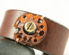 Unisex Leather Cuff Bracelet Brass and Copper Washers Brass Screws