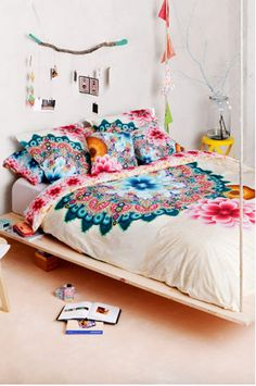 Boho Bedding Desigual Mandala Duvet Cover At Simons Maison Bohemian Bedrooms, Boho Room, Bohemian Dorm, Home Bedroom, Bedroom Decor, Bedroom Ideas, Floral Bedroom, Design Bedroom, Teen Bedroom