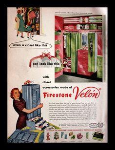 1951 Closet Organizer Ad - Firestone Velon Organizers - Fabric - Wall Art - Home Decor - Retro Vintage Household Advertising Vintage Advertisements, Vintage Ads, Retro Ads, Vintage Stuff, Vintage Images, Firestone Air Bags, 1950s Home Decor, Dressing Room Closet, Cute Sister