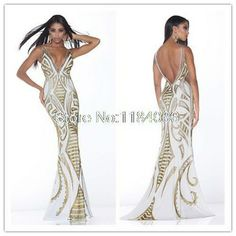 2014 New white V-Neck backless Mermaid embroidery long Prom Dress DY-076
