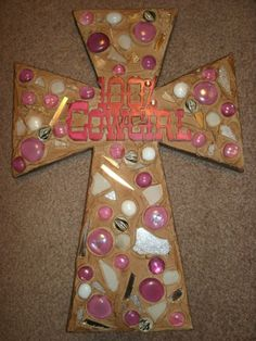 Decorated Wooden Cross 100 CowGirl Design by CraftsbyDebbieLea, $40.00