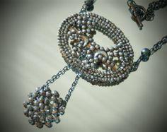 Antique Cut Steels Buckle Necklace, Victorian Cut Steel Buckle Necklace