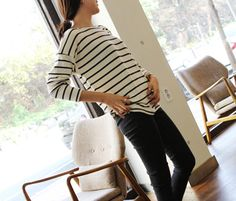 Today's Hot Pick :Two-Tone Stripe Shirt http://fashionstylep.com/P0000BZR/littleblack/out Keep it classy and Parisian chic on a casual day with this shirt. This piece has round neck, long sleeves, a two-tone stripe design, and a seamed hemline. Team this piece with black skater skirt, black stockings and a pair of tall leather boots