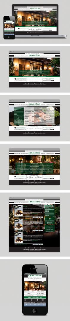 Website and Mobile device site designed for New York based French restaurant, L'Absinthe. French Restaurants, Site Design, Digital Marketing, New York, Website, New York City, Nyc, Yard Design, Website Designs