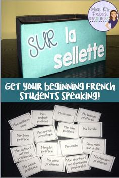 """This is a fun way to get your beginning French students speaking! Use this easy activity with the whole class activity or in small groups. With these prompts, we play a game I call """"Sur la sellette"""" which means """"in the hotseat."""" You can play it with any of my speaking cards. Cut apart the speaking prompts and place the onces you want to use in a box. I decorated a shoe box! Click here to check this out!"""
