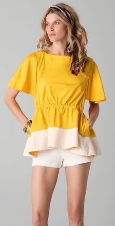 Sonia Rykiel Colorblock Top with Pockets: This boat-neck cotton blouse features contrast trim at the hem and on-seam pockets at the hip. Gathered elastic waist. Ruching at shoulders. Short flutter sleeves.