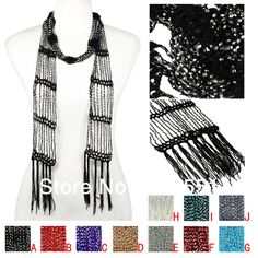 Aliexpress.com : Buy handmade beaded scarf necklace Champagne,10 colors available,NL 2113 from Reliable beaded scarves suppliers on Well Done Fashion LLC. $6.82