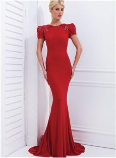 beautiful Sheath Short Sleeves Beading Luxurious Back Floor Length Evening Dress