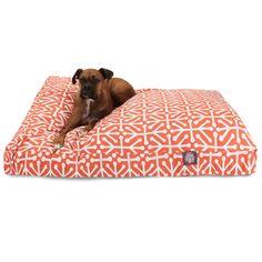 Orange Aruba Large Rectangle Pet Bed