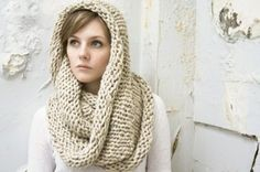 Infinity Scarf No. 1 in Oatmeal - Wool Blend Circle Scarf - Cowl Scarf - Chunky Knit Scarf - Hooded Scarf - Ready to Ship Knit Cowl, Knit Crochet, Knitted Cowls, Crochet Granny, Hand Crochet, Cozy Scarf, Cozy Knit, Hooded Scarf, Circle Scarf